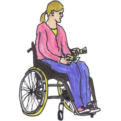 wheelchair user with money in her hand