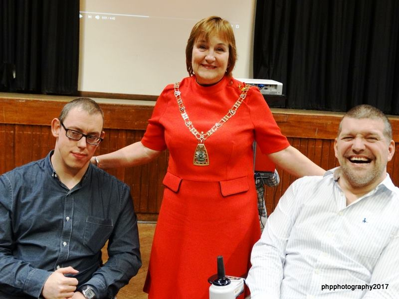Organiser and host Barry McDonald, Mayor of Bromley Cllr Kathy Bance and comedian Lawrence Clark at Bromley Disability Pride