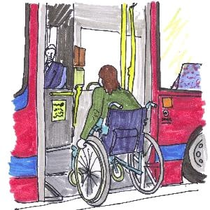 Wheelchair going up ramp into bus