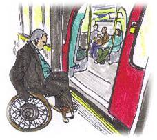 image of wheelchair user trying to get onto a tube