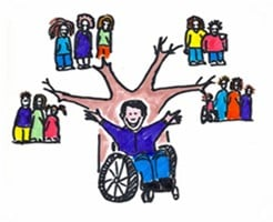 disabled person and brunches of networks